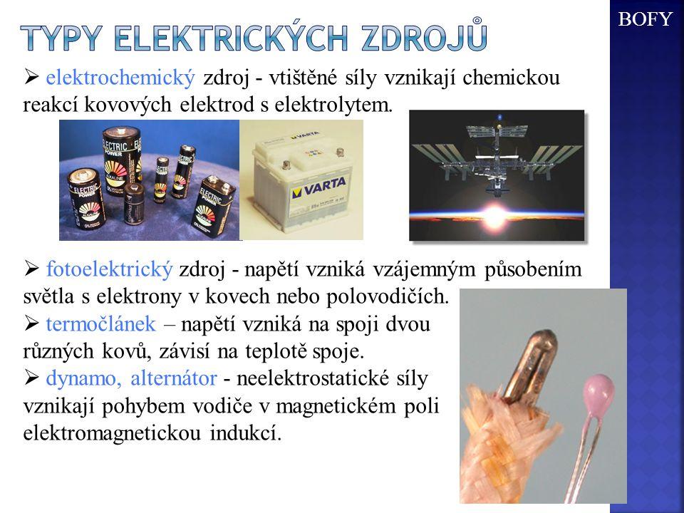  elektrochemický zdroj - vtištěné síly vznikají chemickou reakcí kovových elektrod s elektrolytem.  fotoelektrický zdroj - napětí vzniká vzájemným p
