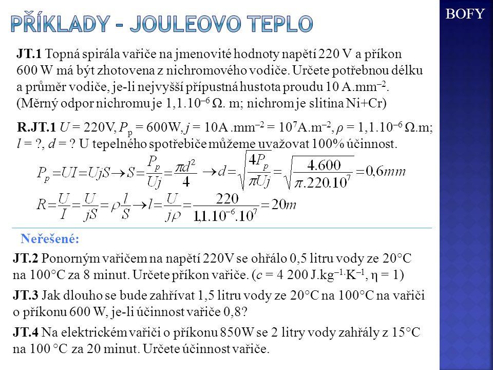 JT.1 Topná spirála vařiče na jmenovité hodnoty napětí 220 V a příkon 600 W má být zhotovena z nichromového vodiče. Určete potřebnou délku a průměr vod