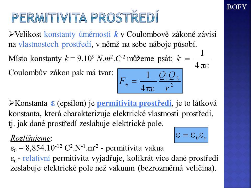  Velikost konstanty úměrnosti k v Coulombově zákoně závisí na vlastnostech prostředí, v němž na sebe náboje působí. Místo konstanty k = 9.10 9 N.m 2.