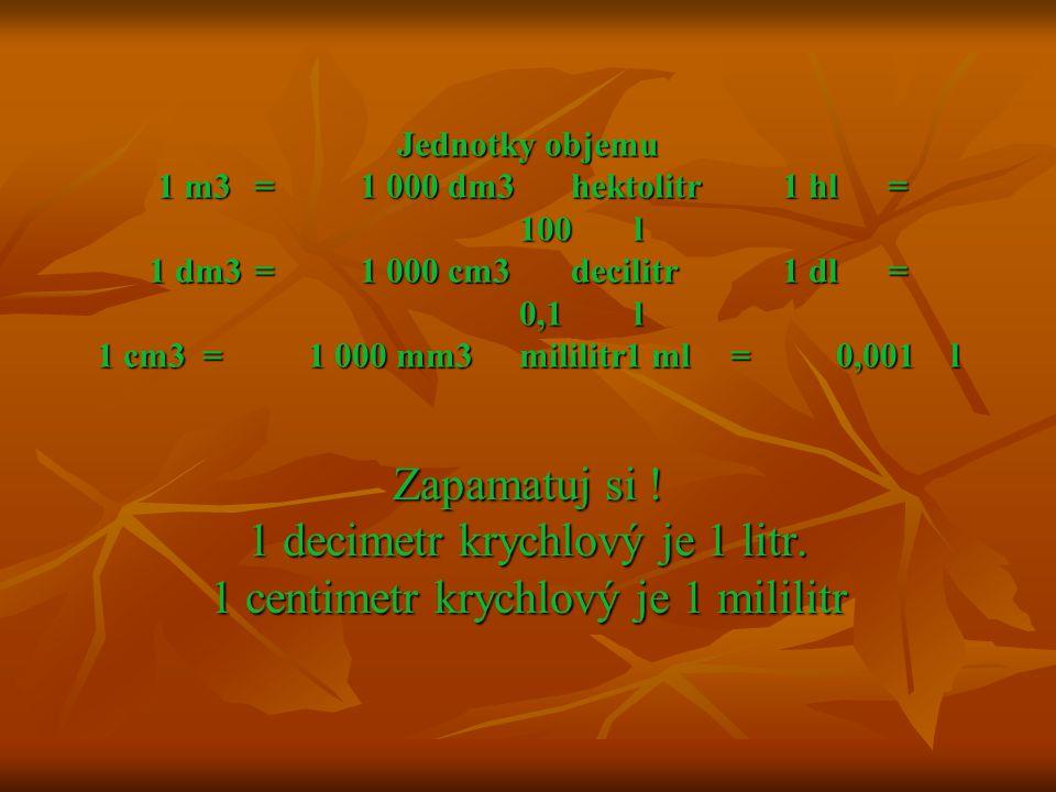 Jednotky objemu 1 m3=1 000 dm3hektolitr1 hl= 100 l 1 dm3=1 000 cm3decilitr1 dl= 0,1 l 1 cm3=1 000 mm3mililitr1 ml=0,001 l Jednotky objemu 1 m3=1 000 dm3hektolitr1 hl= 100 l 1 dm3=1 000 cm3decilitr1 dl= 0,1 l 1 cm3=1 000 mm3mililitr1 ml=0,001 l Zapamatuj si .