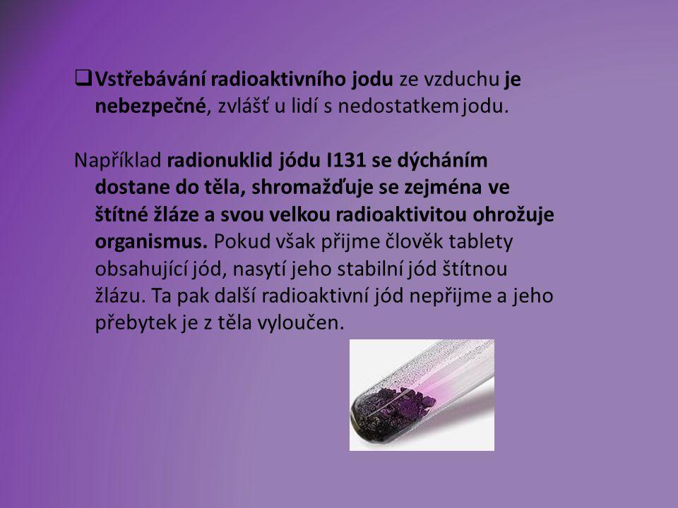  Vstřebávání radioaktivního jodu ze vzduchu je nebezpečné, zvlášť u lidí s nedostatkem jodu.