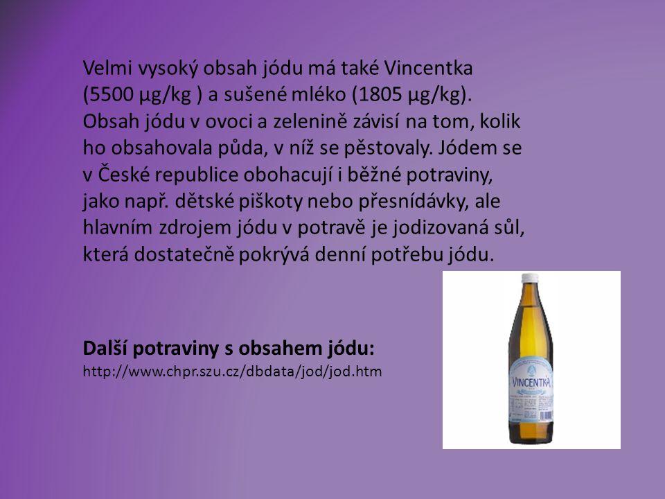 Velmi vysoký obsah jódu má také Vincentka (5500 µg/kg ) a sušené mléko (1805 µg/kg).