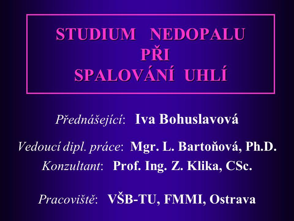 STUDIUM NEDOPALU PŘI SPALOVÁNÍ UHLÍ Přednášející: Iva Bohuslavová Vedoucí dipl.