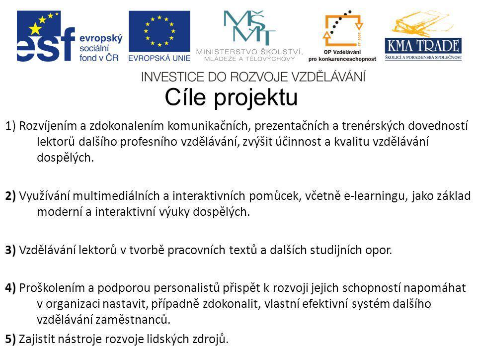 Cíle projektu 1) Rozvíjením a zdokonalením komunikačních, prezentačních a trenérských dovedností lektorů dalšího profesního vzdělávání, zvýšit účinnos
