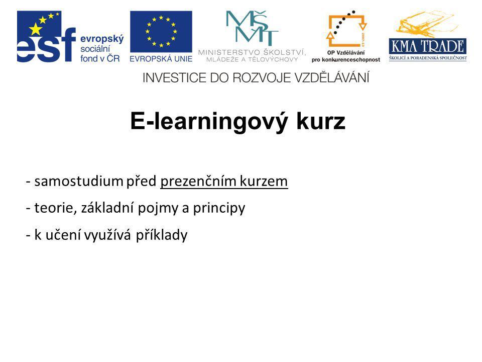 E-learningový kurz - samostudium před prezenčním kurzem - teorie, základní pojmy a principy - k učení využívá příklady