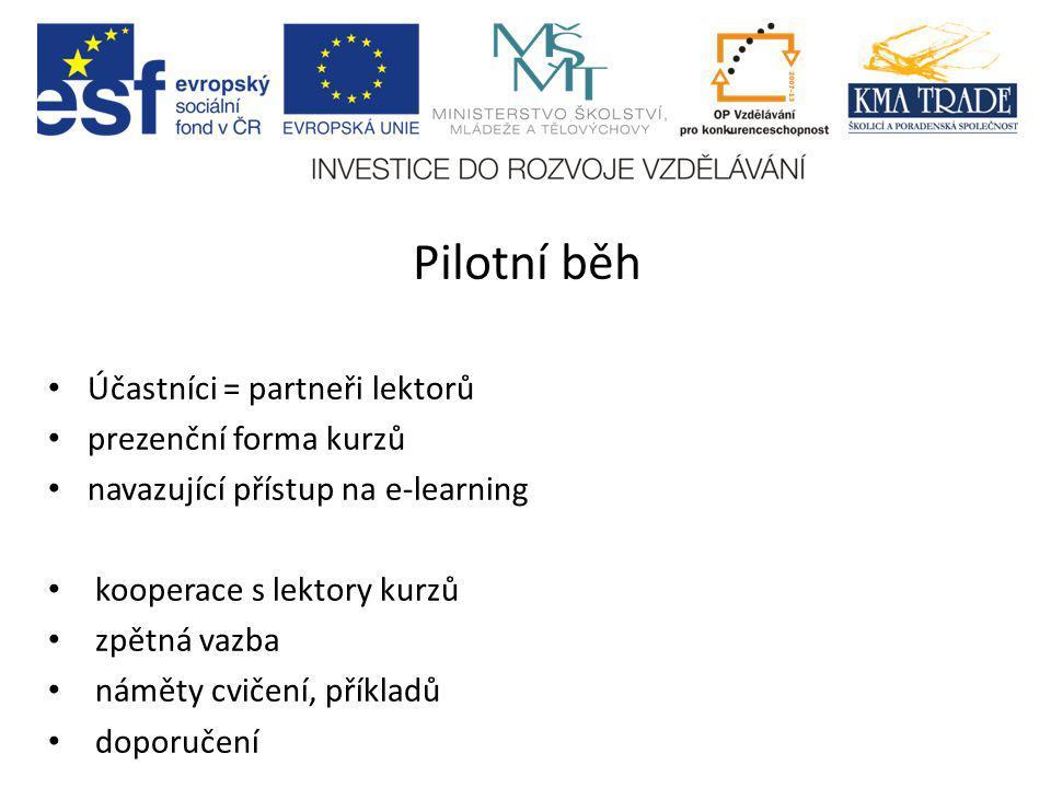 Pilotní běh Účastníci = partneři lektorů prezenční forma kurzů navazující přístup na e-learning kooperace s lektory kurzů zpětná vazba náměty cvičení,