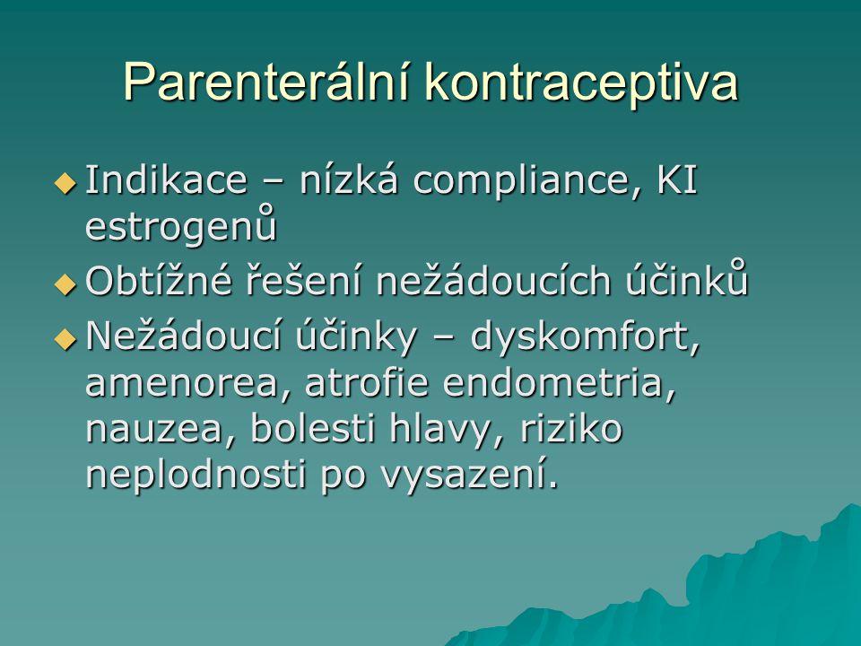 Parenterální kontraceptiva  Indikace – nízká compliance, KI estrogenů  Obtížné řešení nežádoucích účinků  Nežádoucí účinky – dyskomfort, amenorea,