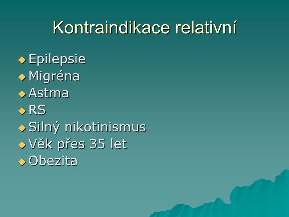 Kontraindikace relativní  Epilepsie  Migréna  Astma  RS  Silný nikotinismus  Věk přes 35 let  Obezita