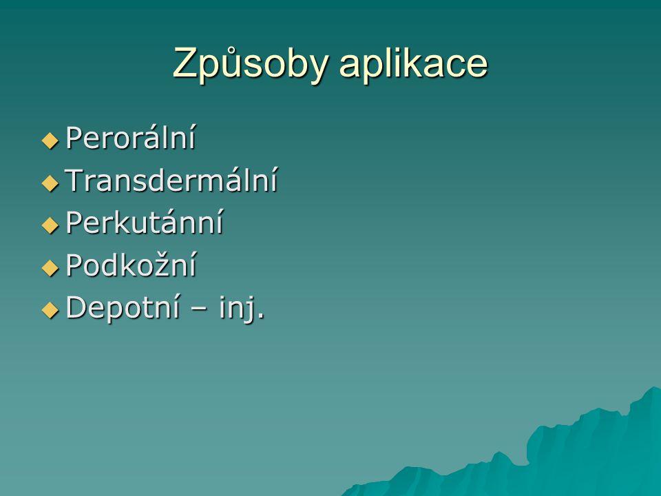 Způsoby aplikace  Perorální  Transdermální  Perkutánní  Podkožní  Depotní – inj.