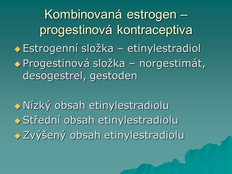 Kombinovaná estrogen – progestinová kontraceptiva  Estrogenní složka – etinylestradiol  Progestinová složka – norgestimát, desogestrel, gestoden  N