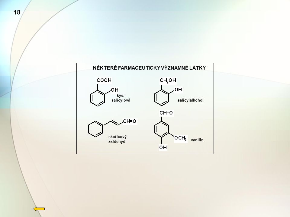 skořicový asldehyd kys. salicylová salicylalkohol vanilin NĚKTERÉ FARMACEUTICKY VÝZNAMNÉ LÁTKY 18