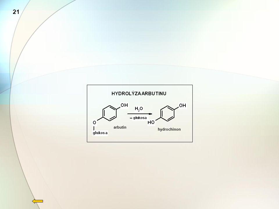 HYDROLÝZA ARBUTINU arbutin hydrochinon 21