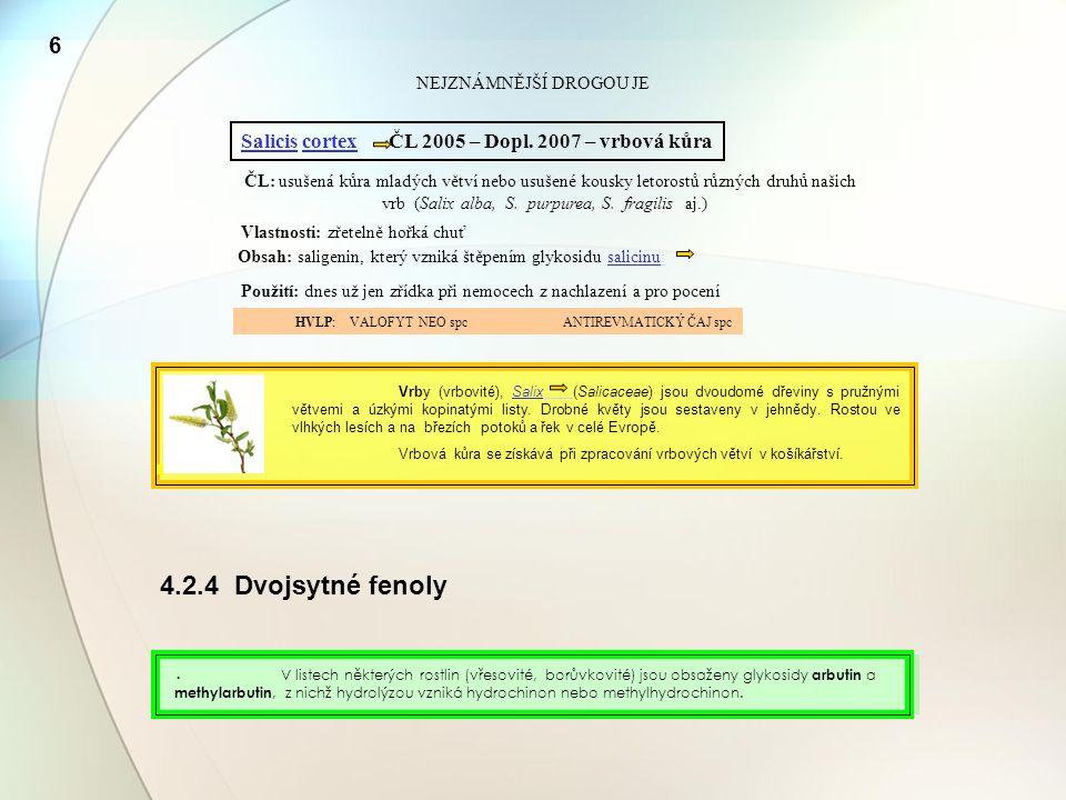 6 NEJZNÁMNĚJŠÍ DROGOU JE Salicis cortex ČL 2005 – Dopl. 2007 – vrbová kůra ČL: usušená kůra mladých větví nebo usušené kousky letorostů různých druhů