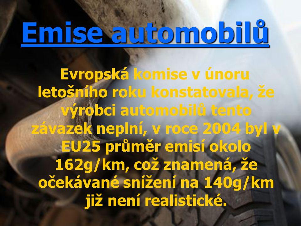 Emise automobilů Evropská komise v únoru letošního roku konstatovala, že výrobci automobilů tento závazek neplní, v roce 2004 byl v EU25 průměr emisí