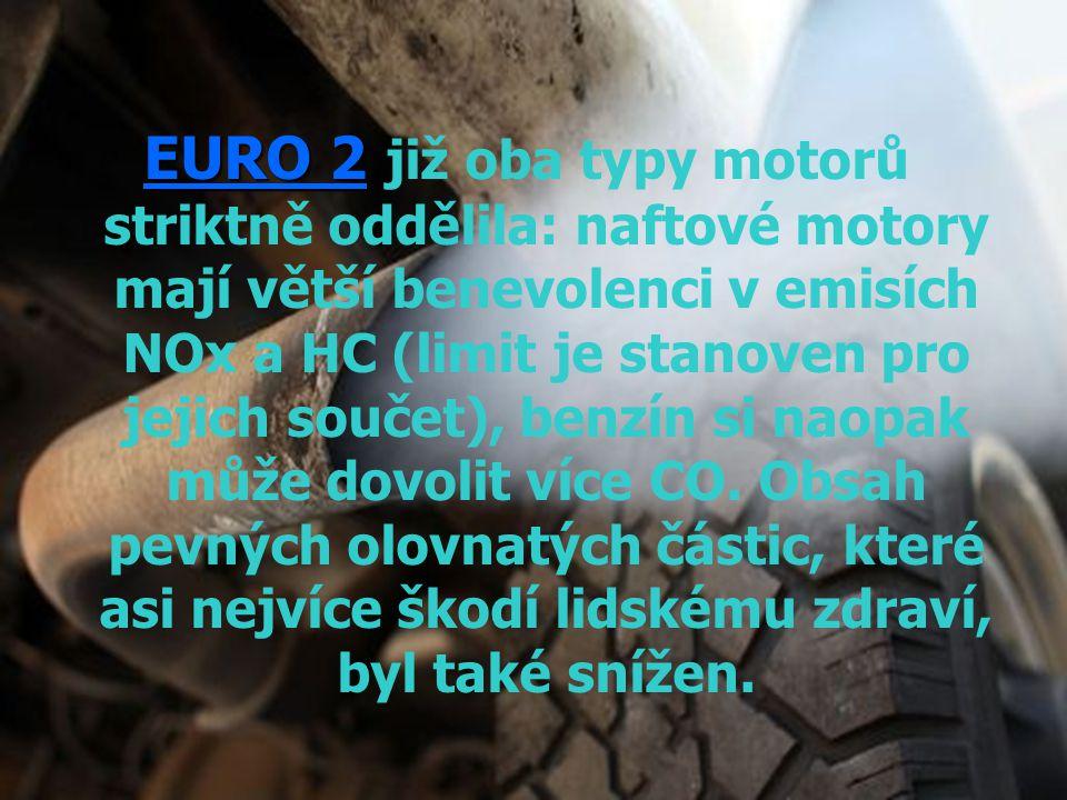 EURO 2 EURO 2 již oba typy motorů striktně oddělila: naftové motory mají větší benevolenci v emisích NOx a HC (limit je stanoven pro jejich součet), b