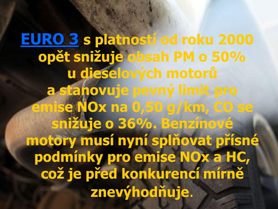 EURO 3 EURO 3 s platností od roku 2000 opět snižuje obsah PM o 50% u dieselových motorů a stanovuje pevný limit pro emise NOx na 0,50 g/km, CO se sniž