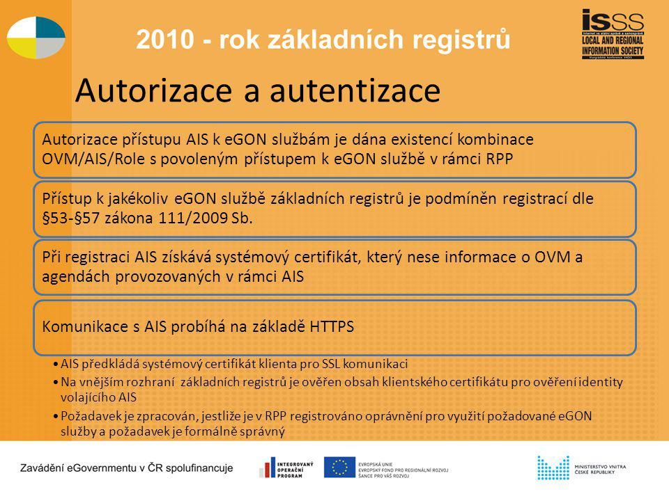 Autorizace a autentizace Autorizace přístupu AIS k eGON službám je dána existencí kombinace OVM/AIS/Role s povoleným přístupem k eGON službě v rámci RPP Přístup k jakékoliv eGON službě základních registrů je podmíněn registrací dle §53-§57 zákona 111/2009 Sb.