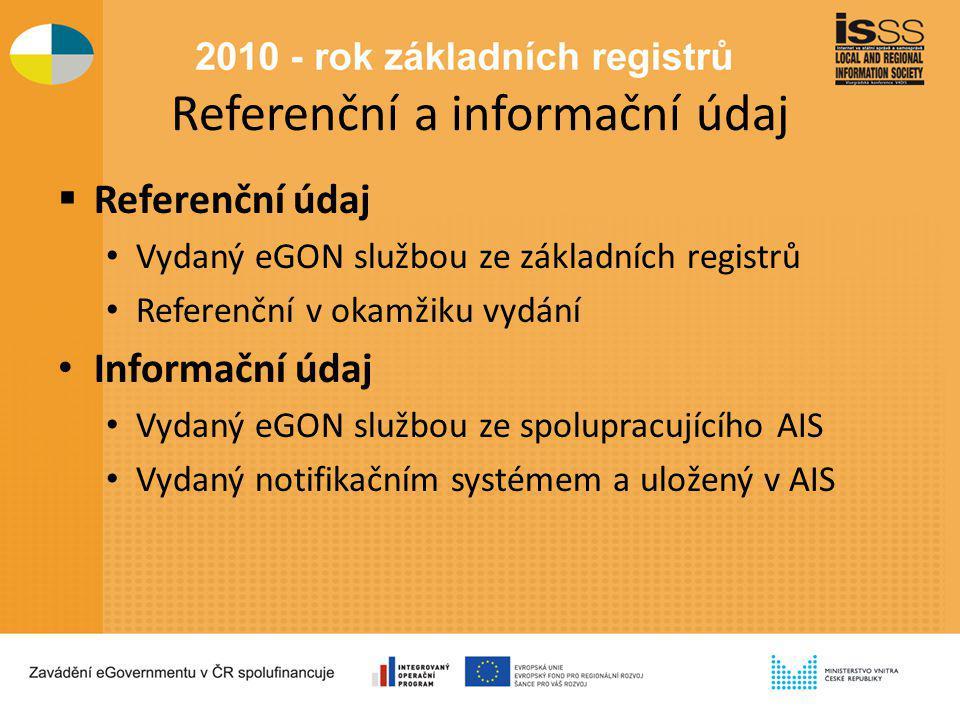 Referenční a informační údaj  Referenční údaj Vydaný eGON službou ze základních registrů Referenční v okamžiku vydání Informační údaj Vydaný eGON službou ze spolupracujícího AIS Vydaný notifikačním systémem a uložený v AIS