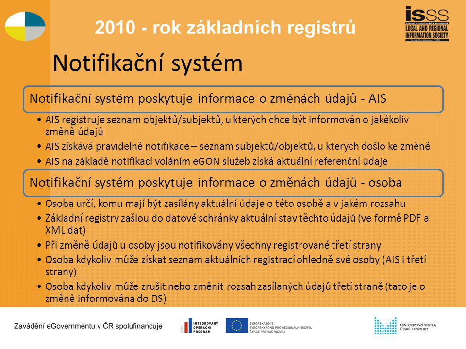 Notifikační systém Notifikační systém poskytuje informace o změnách údajů - AIS AIS registruje seznam objektů/subjektů, u kterých chce být informován o jakékoliv změně údajů AIS získává pravidelné notifikace – seznam subjektů/objektů, u kterých došlo ke změně AIS na základě notifikací voláním eGON služeb získá aktuální referenční údaje Notifikační systém poskytuje informace o změnách údajů - osoba Osoba určí, komu mají být zasílány aktuální údaje o této osobě a v jakém rozsahu Základní registry zašlou do datové schránky aktuální stav těchto údajů (ve formě PDF a XML dat) Při změně údajů u osoby jsou notifikovány všechny registrované třetí strany Osoba kdykoliv může získat seznam aktuálních registrací ohledně své osoby (AIS i třetí strany) Osoba kdykoliv může zrušit nebo změnit rozsah zasílaných údajů třetí straně (tato je o změně informována do DS)