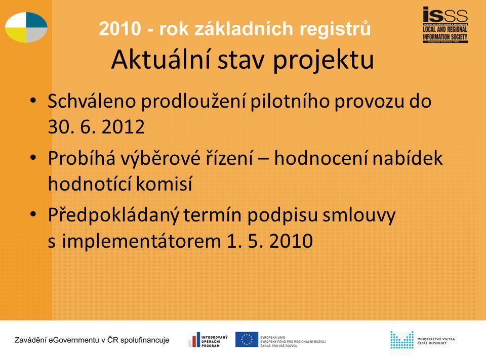 Aktuální stav projektu Schváleno prodloužení pilotního provozu do 30. 6. 2012 Probíhá výběrové řízení – hodnocení nabídek hodnotící komisí Předpokláda