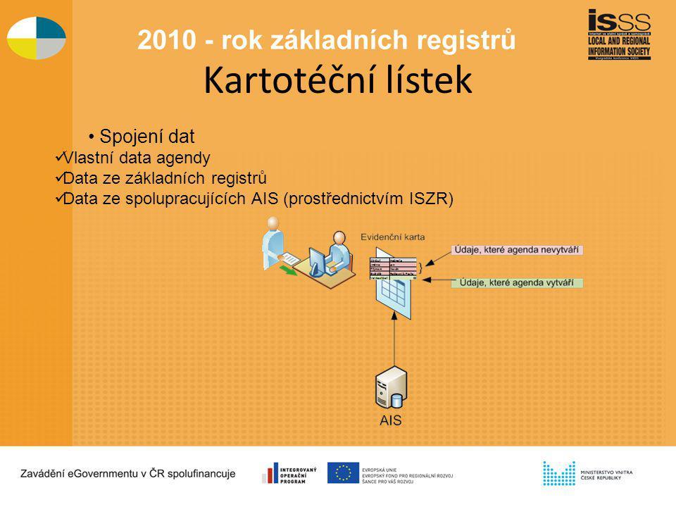 Kartotéční lístek Spojení dat Vlastní data agendy Data ze základních registrů Data ze spolupracujících AIS (prostřednictvím ISZR)