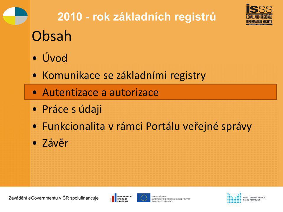 Obsah Úvod Komunikace se základními registry Autentizace a autorizace Práce s údaji Funkcionalita v rámci Portálu veřejné správy Závěr