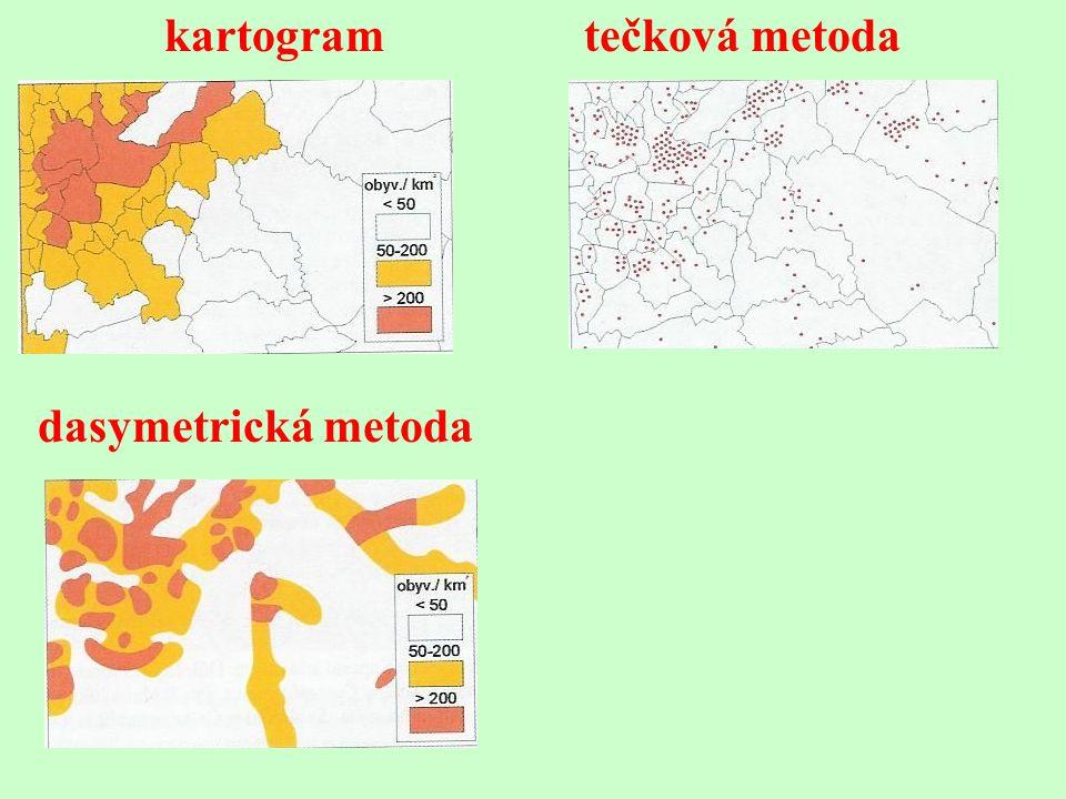 kartogram tečková metoda dasymetrická metoda