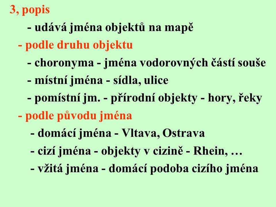 3, popis - udává jména objektů na mapě - podle druhu objektu - choronyma - jména vodorovných částí souše - místní jména - sídla, ulice - pomístní jm.