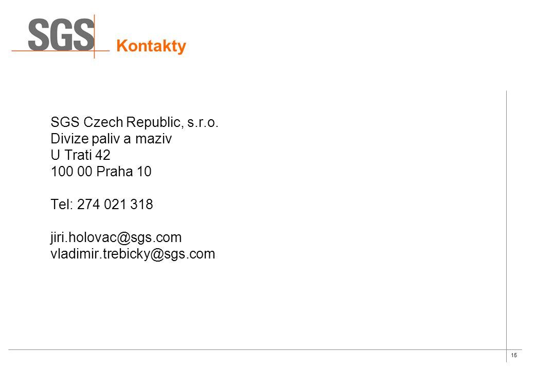 15 Kontakty SGS Czech Republic, s.r.o.
