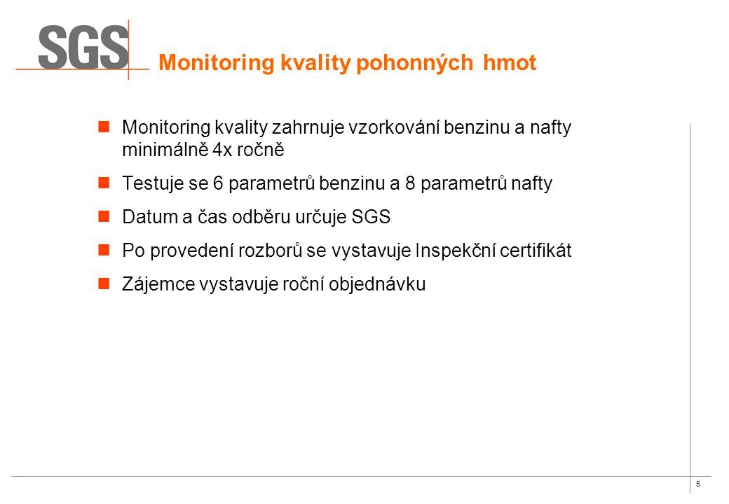 5 Monitoring kvality pohonných hmot Monitoring kvality zahrnuje vzorkování benzinu a nafty minimálně 4x ročně Testuje se 6 parametrů benzinu a 8 parametrů nafty Datum a čas odběru určuje SGS Po provedení rozborů se vystavuje Inspekční certifikát Zájemce vystavuje roční objednávku