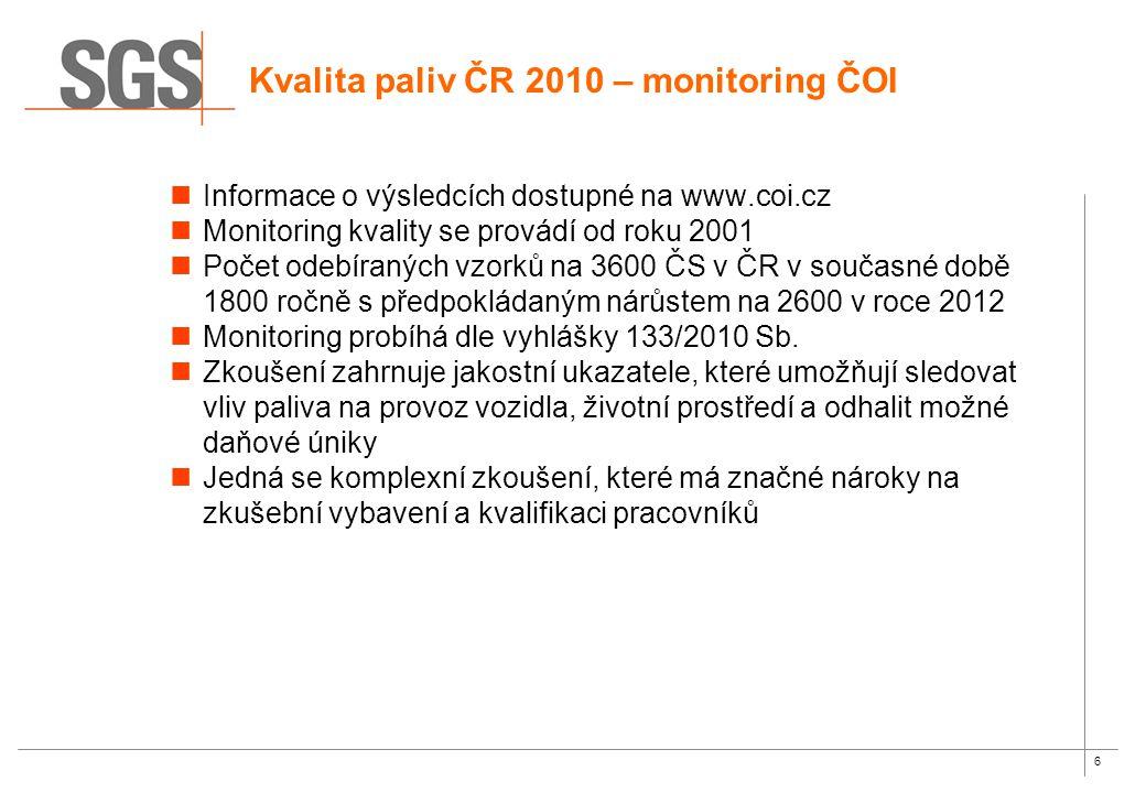 6 Informace o výsledcích dostupné na www.coi.cz Monitoring kvality se provádí od roku 2001 Počet odebíraných vzorků na 3600 ČS v ČR v současné době 1800 ročně s předpokládaným nárůstem na 2600 v roce 2012 Monitoring probíhá dle vyhlášky 133/2010 Sb.