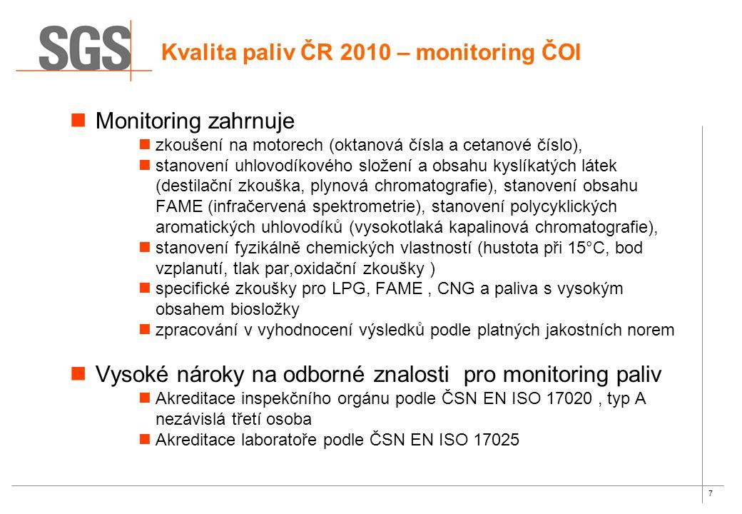 7 Monitoring zahrnuje zkoušení na motorech (oktanová čísla a cetanové číslo), stanovení uhlovodíkového složení a obsahu kyslíkatých látek (destilační zkouška, plynová chromatografie), stanovení obsahu FAME (infračervená spektrometrie), stanovení polycyklických aromatických uhlovodíků (vysokotlaká kapalinová chromatografie), stanovení fyzikálně chemických vlastností (hustota při 15°C, bod vzplanutí, tlak par,oxidační zkoušky ) specifické zkoušky pro LPG, FAME, CNG a paliva s vysokým obsahem biosložky zpracování v vyhodnocení výsledků podle platných jakostních norem Vysoké nároky na odborné znalosti pro monitoring paliv Akreditace inspekčního orgánu podle ČSN EN ISO 17020, typ A nezávislá třetí osoba Akreditace laboratoře podle ČSN EN ISO 17025 Kvalita paliv ČR 2010 – monitoring ČOI