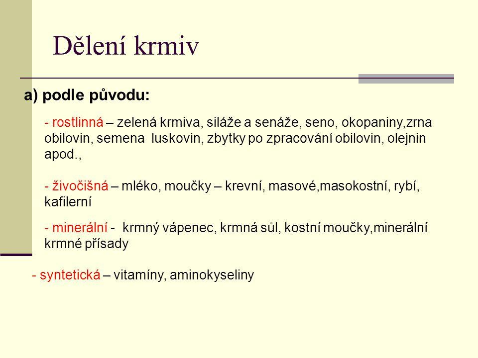 Dělení krmiv a) podle původu: - rostlinná – zelená krmiva, siláže a senáže, seno, okopaniny,zrna obilovin, semena luskovin, zbytky po zpracování obilovin, olejnin apod., - živočišná – mléko, moučky – krevní, masové,masokostní, rybí, kafilerní - minerální - krmný vápenec, krmná sůl, kostní moučky,minerální krmné přísady - syntetická – vitamíny, aminokyseliny