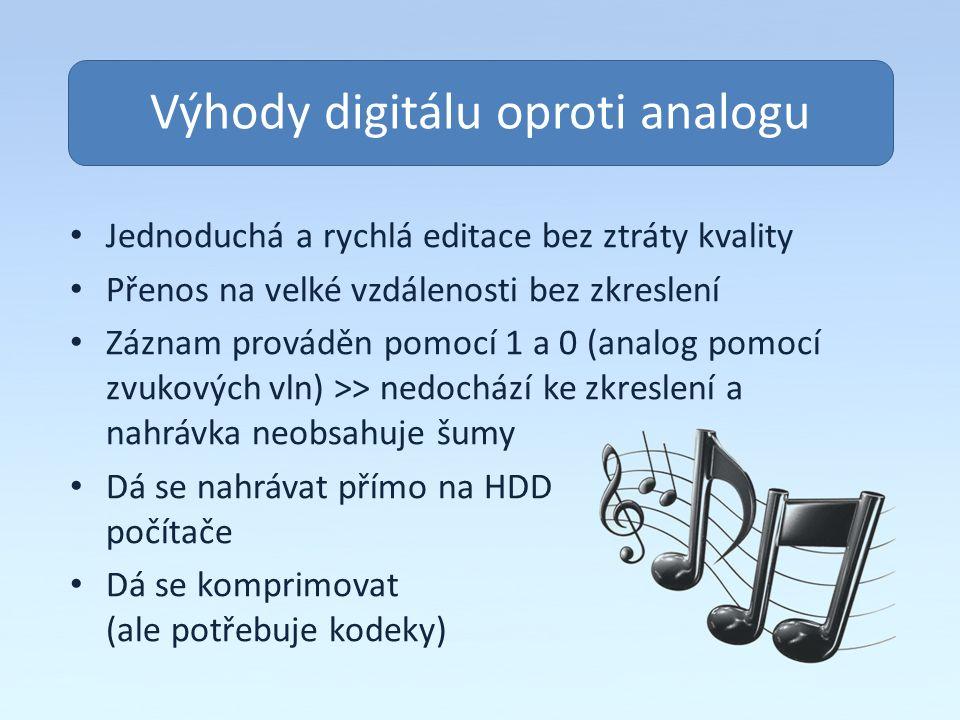 Obsah Výhody digitálu oproti analogu Jednoduchá a rychlá editace bez ztráty kvality Přenos na velké vzdálenosti bez zkreslení Záznam prováděn pomocí 1