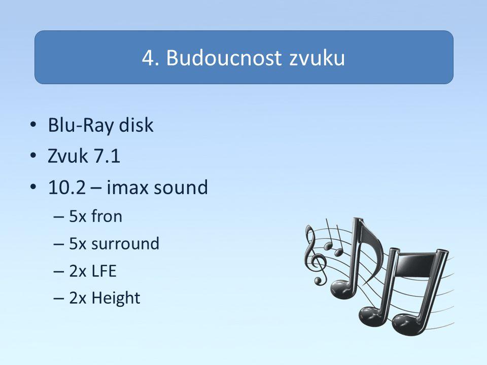 Zvuk na pc Blu-Ray disk Zvuk 7.1 10.2 – imax sound – 5x fron – 5x surround – 2x LFE – 2x Height 4. Budoucnost zvuku
