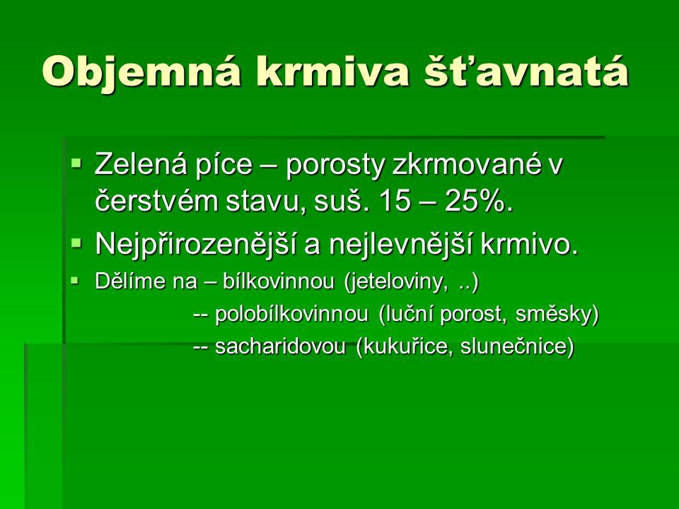 Objemná krmiva šťavnatá  Zelená píce – porosty zkrmované v čerstvém stavu, suš.