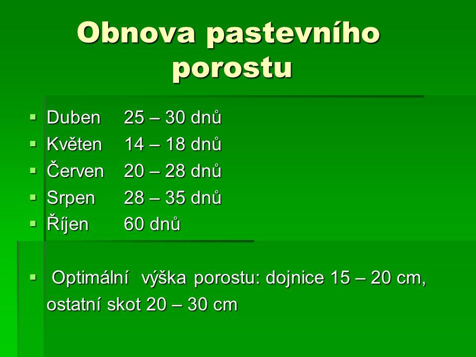 Obnova pastevního porostu  Duben25 – 30 dnů  Květen14 – 18 dnů  Červen20 – 28 dnů  Srpen28 – 35 dnů  Říjen60 dnů  Optimální výška porostu: dojnice 15 – 20 cm, ostatní skot 20 – 30 cm