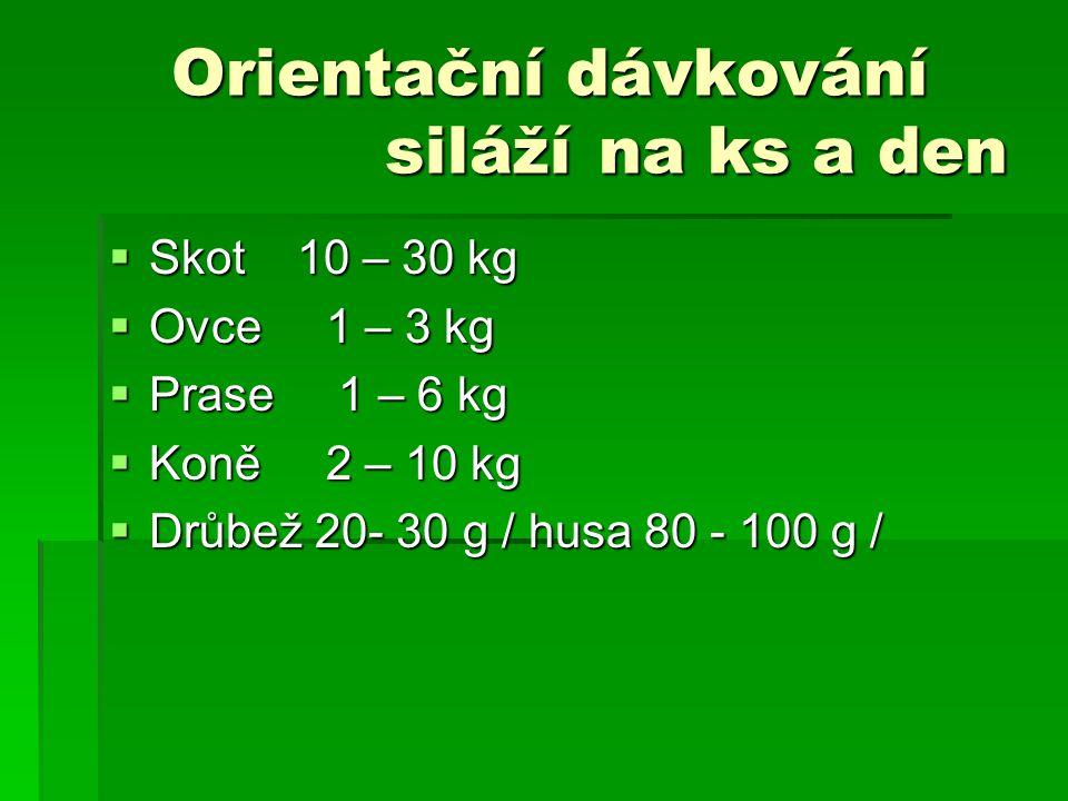 Orientační dávkování siláží na ks a den  Skot 10 – 30 kg  Ovce 1 – 3 kg  Prase 1 – 6 kg  Koně 2 – 10 kg  Drůbež 20- 30 g / husa 80 - 100 g /