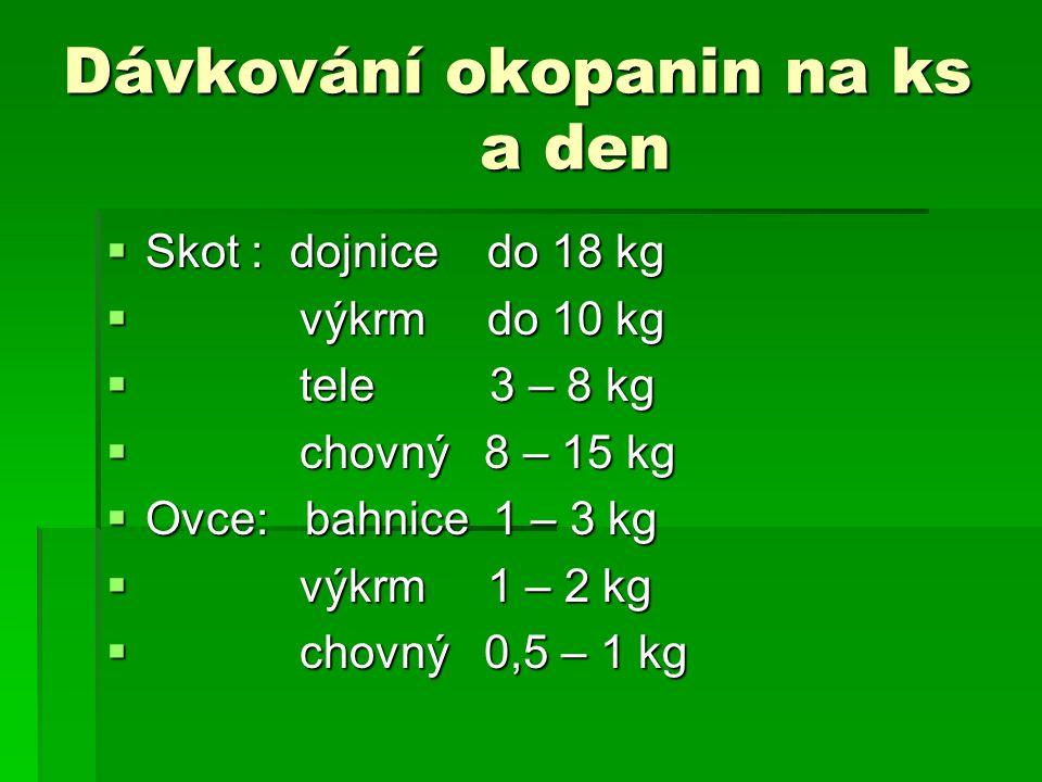 Dávkování okopanin na ks a den  Skot : dojnice do 18 kg  výkrm do 10 kg  tele 3 – 8 kg  chovný 8 – 15 kg  Ovce: bahnice 1 – 3 kg  výkrm 1 – 2 kg  chovný 0,5 – 1 kg