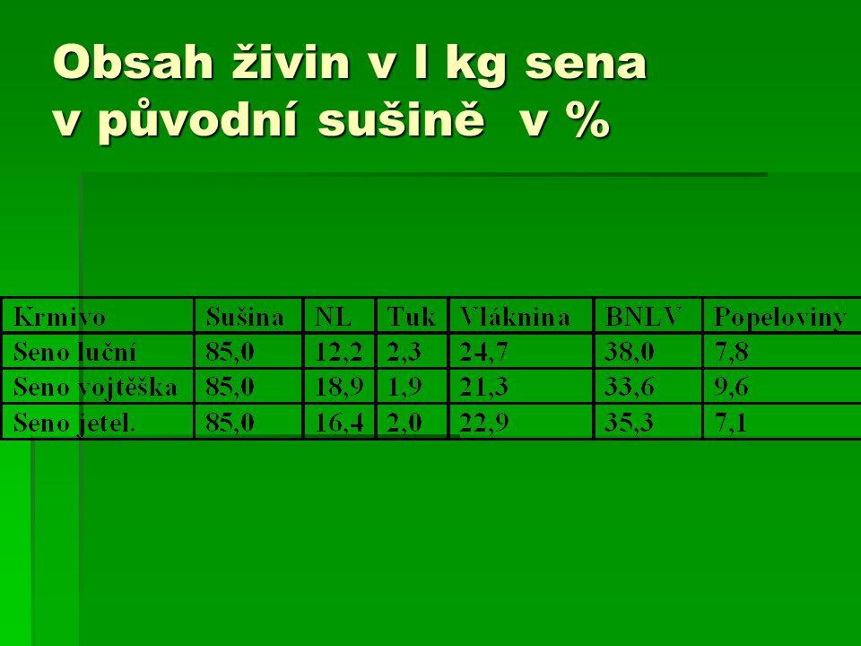 Obsah živin v l kg sena v původní sušině v %