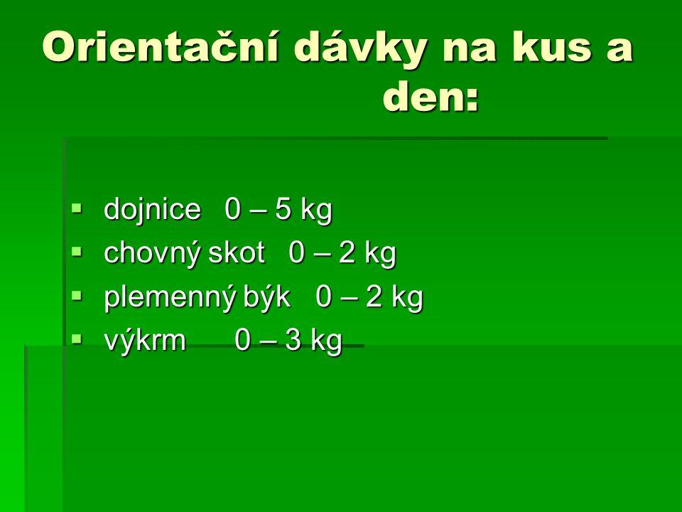 Orientační dávky na kus a den:  dojnice 0 – 5 kg  chovný skot 0 – 2 kg  plemenný býk 0 – 2 kg  výkrm 0 – 3 kg