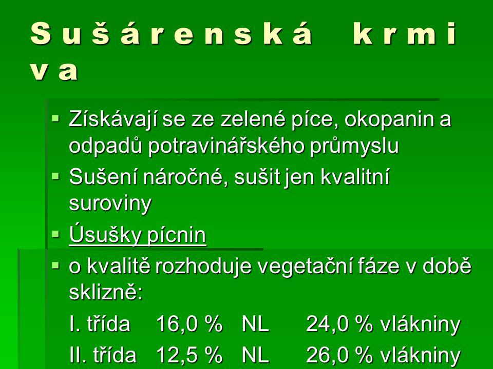 S u š á r e n s k á k r m i v a  Získávají se ze zelené píce, okopanin a odpadů potravinářského průmyslu  Sušení náročné, sušit jen kvalitní suroviny  Úsušky pícnin  o kvalitě rozhoduje vegetační fáze v době sklizně: I.