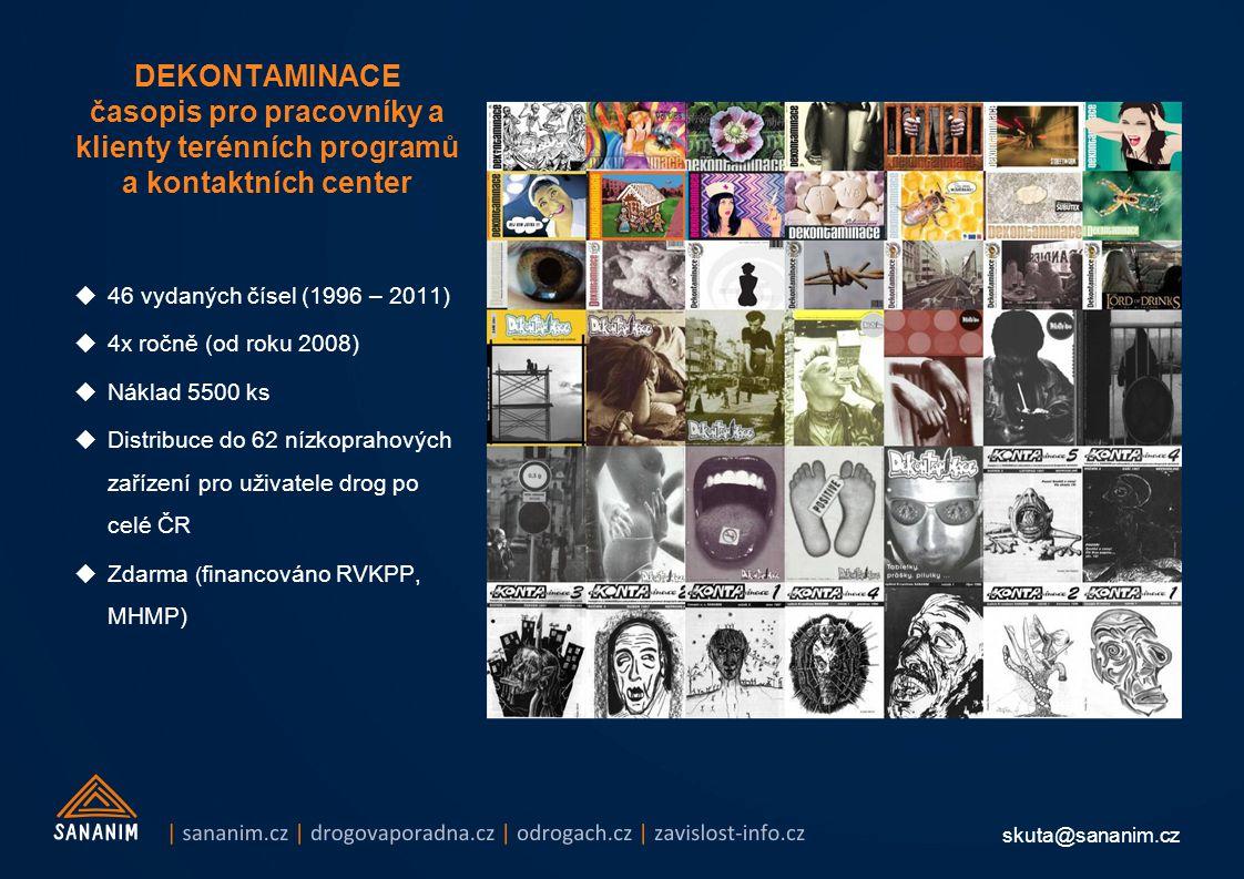 skuta@sananim.cz DEKONTAMINACE časopis pro pracovníky a klienty terénních programů a kontaktních center  46 vydaných čísel (1996 – 2011)  4x ročně (