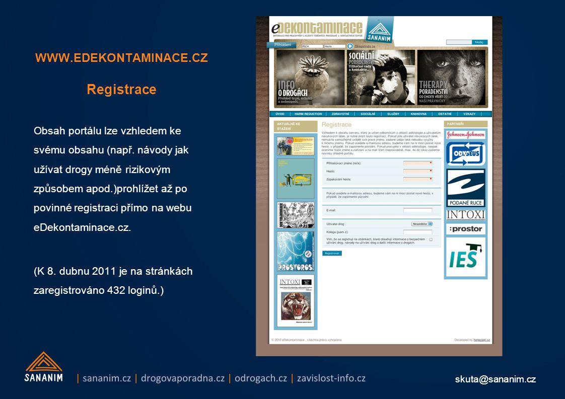 skuta@sananim.cz WWW.EDEKONTAMINACE.CZ Registrace Obsah portálu lze vzhledem ke svému obsahu (např. návody jak užívat drogy méně rizikovým způsobem ap