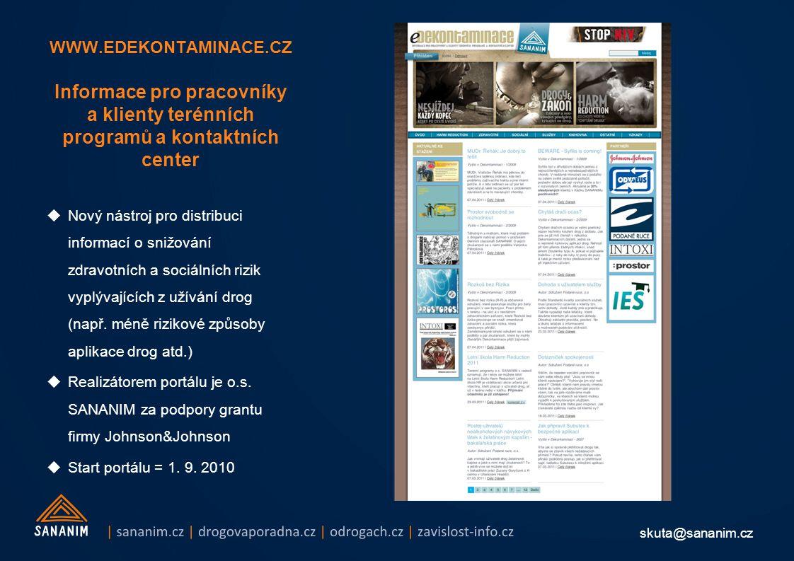 skuta@sananim.cz WWW.EDEKONTAMINACE.CZ Informace pro pracovníky a klienty terénních programů a kontaktních center  Nový nástroj pro distribuci inform