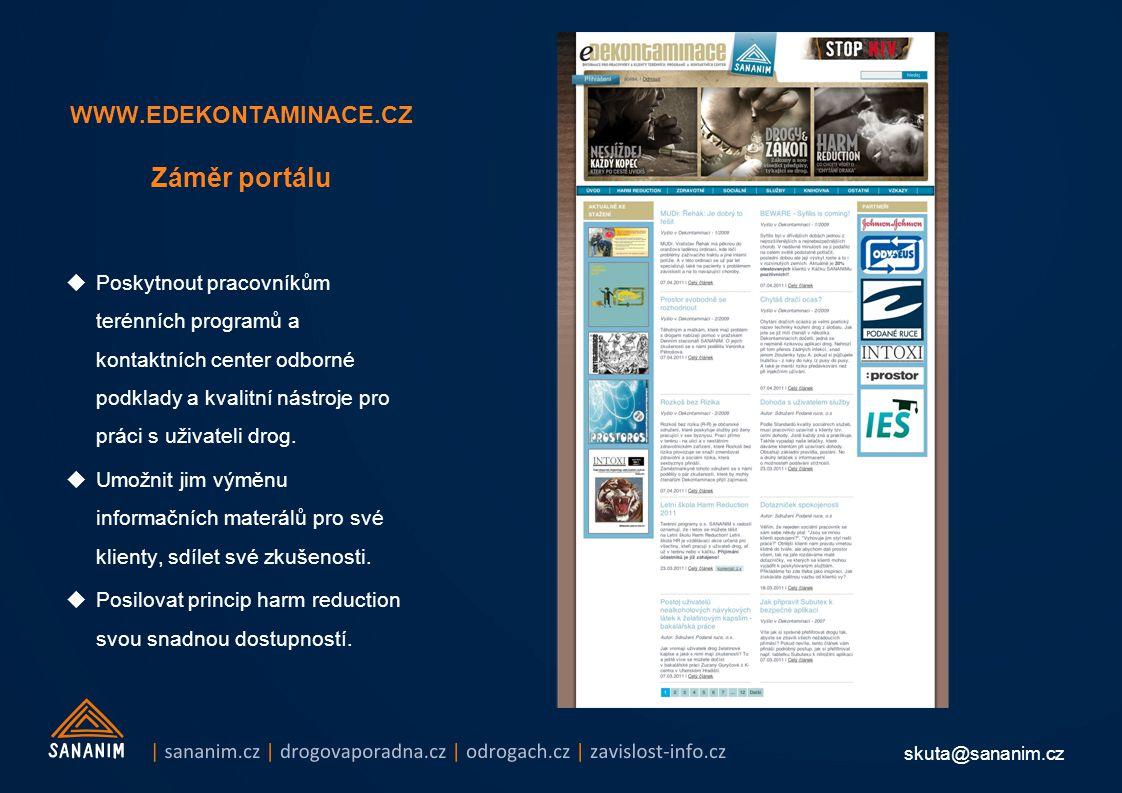 skuta@sananim.cz WWW.EDEKONTAMINACE.CZ Záměr portálu  Poskytnout pracovníkům terénních programů a kontaktních center odborné podklady a kvalitní nástroje pro práci s uživateli drog.