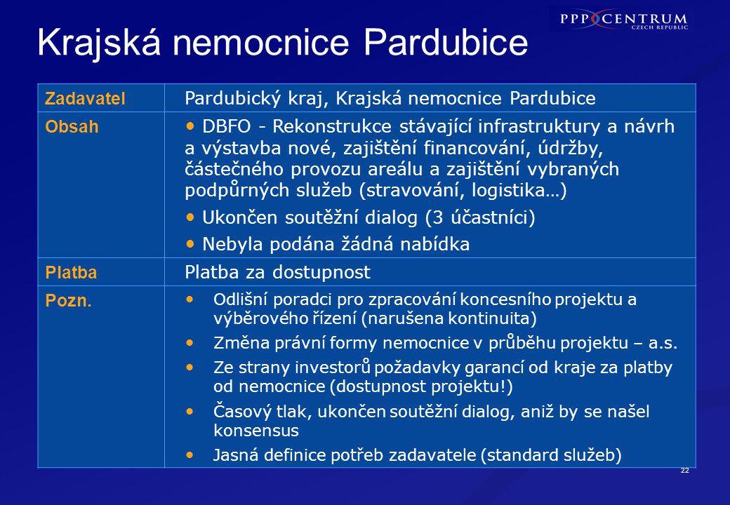 22 PARDUBICE Krajská nemocnice Pardubice Zadavatel Pardubický kraj, Krajská nemocnice Pardubice Obsah DBFO - Rekonstrukce stávající infrastruktury a n