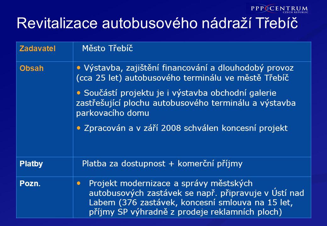 23 Revitalizace autobusového nádraží Třebíč TŘEBÍČ Zadavatel Město Třebíč Obsah Výstavba, zajištění financování a dlouhodobý provoz (cca 25 let) autob