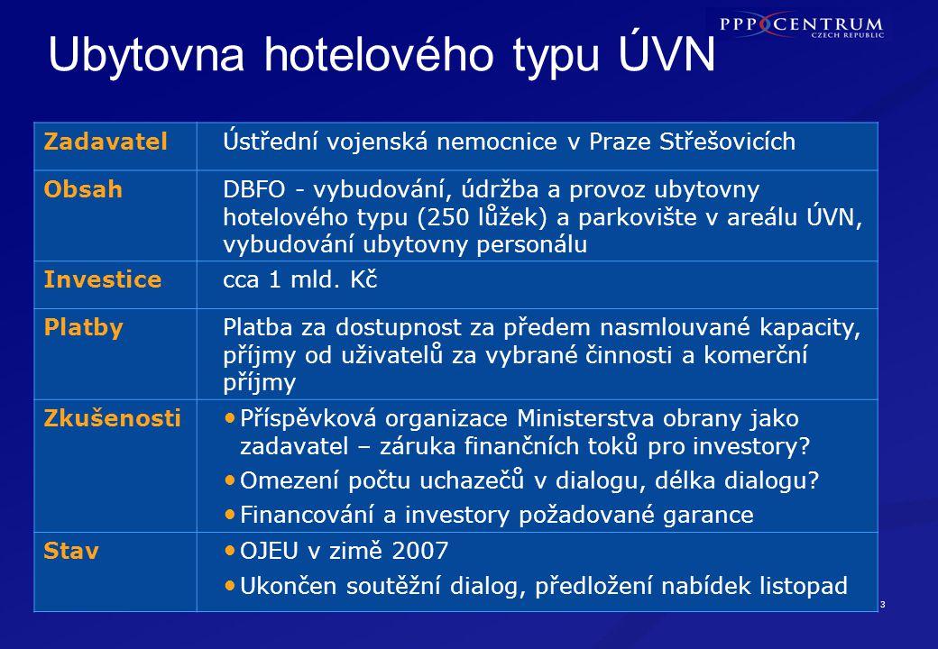 3 Vybudování ubytovny hotelového typu a parkoviště v areálu nemocnice (250 lůžek) PRAHA Ubytovna hotelového typu ÚVN ZadavatelÚstřední vojenská nemocn