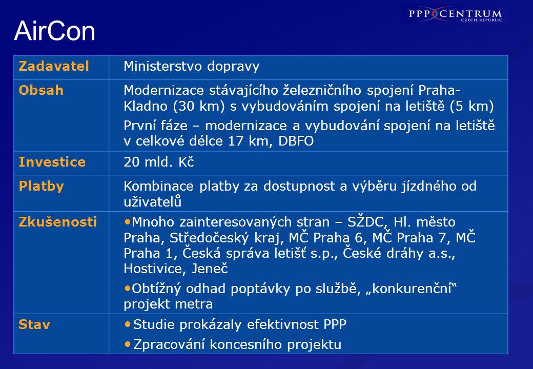 7 Modernizace železnicní trati Praha–Kladno s výstavbou připojení na Letište Ruzyně, včetně provozu a údržby. PRAHA AirCon ZadavatelMinisterstvo dopra